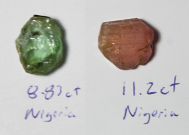 Nigerian Tourmaline Rough Before Cleaning and Preforming - Top View