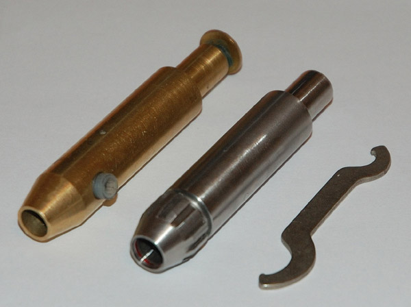 Original Brass Omni Quill and New Collet Quill Side by Side